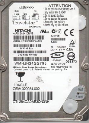 HTS428060F9AT00, DK23FA-60, B/A0A2B/A, Hitachi 60GB IDE 2.5 Hard Drive