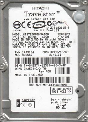 HTS726060M9AT00, PN 14R9164, MLC H69557, HITACHI 60GB IDE 2.5 Hard Drive
