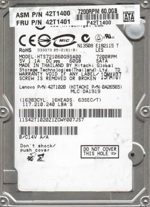 HTS721060G9SA00, PN 0A26565, MLC DA1919, HITACHI 60GB SATA 2.5 Hard Drive