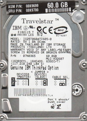 IC25T060ATCS05-0, PN 07N8365, MLC H32687, IBM 60GB IDE 2.5 Hard Drive