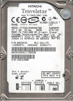 HTS541040G9AT00, PN 0A25432, MLC DA1175, Hitachi 40GB IDE 2.5 Hard Drive