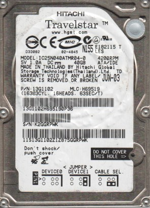 IC25N040ATMR04-0, PN 13G1102, MLC H69519, Hitachi 40GB IDE 2.5 Hard Drive