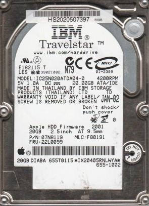 IC25N020ATDA04-0, PN 07N8119, MLC F80191, IBM 20GB IDE 2.5 Hard Drive