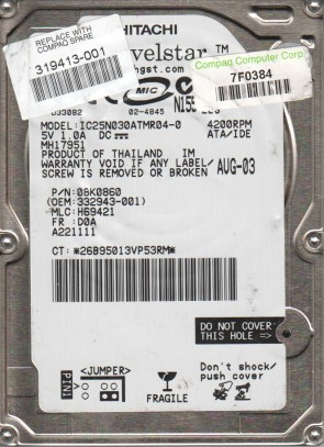 IC25N030ATMR04-0, PN 08K0860, MLC H69421, Hitachi 30GB IDE 2.5 Hard Drive