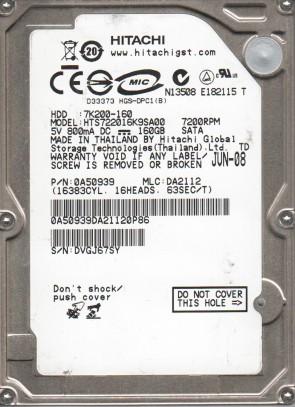 HTS722016K9SA00, PN 0A50939, MLC DA2112, Hitachi 160GB SATA 2.5 Hard Drive