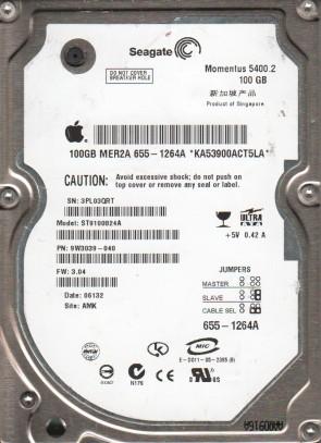 ST9100824A, 3PL, AMK, PN 9W3039-040, FW 3.04, Seagate 100GB IDE 2.5 Hard Drive