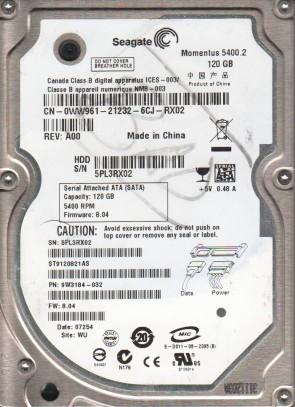 ST9120821AS, 5PL, WU, PN 9W3184-032, FW 8.04, Seagate 120GB SATA 2.5 Hard Drive
