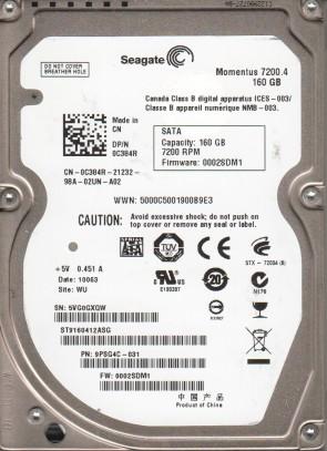 ST9160412ASG, 5VG, WU, PN 9PSG4C-031, FW 0002SDM1, Seagate 160GB SATA 2.5 Hard Drive