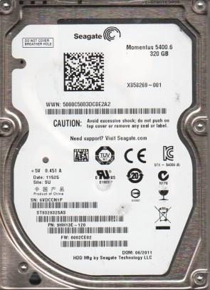 ST9320325AS, 6VD, SU, PN 9HH13E-120, FW 0002CE02, Seagate 320GB SATA 2.5 Hard Drive