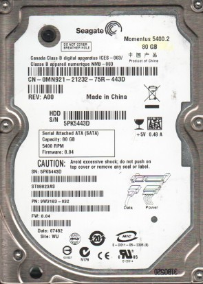 ST98823AS, 5PK, WU, PN 9W3183-032, FW 8.04, Seagate 80GB SATA 2.5 Hard Drive