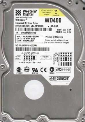 WD400BB-00CAA1, DCM HSEANA2CH, Western Digital 40GB IDE 3.5 Hard Drive