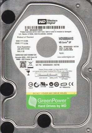 WD5000AAVS-00ZTB0, DCM DHRCNTJMGN, Western Digital 500GB SATA 3.5 Hard Drive