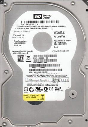 WD2000JS-22NCB1, DCM HSBHCT2AHB, Western Digital 200GB SATA 3.5 Hard Drive
