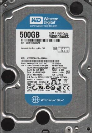 WD5000AAKS-007AA0, DCM HARNNTJAAB, Western Digital 500GB SATA 3.5 Hard Drive