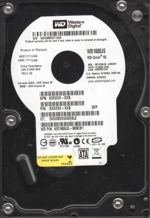 WD1600JS-60NCB1, DCM DSBHNT2AH, Western Digital 160GB SATA 3.5 Hard Drive