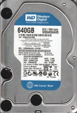 WD6400AAKS-07A7B2, DCM HANNHTJCB, Western Digital 640GB SATA 3.5 Hard Drive