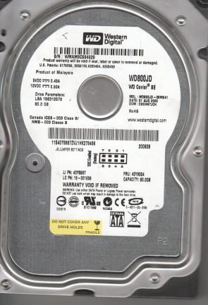 WD800JD-08M8A1, DCM DSCHNTJCH, Western Digital 80GB SATA 3.5 Hard Drive