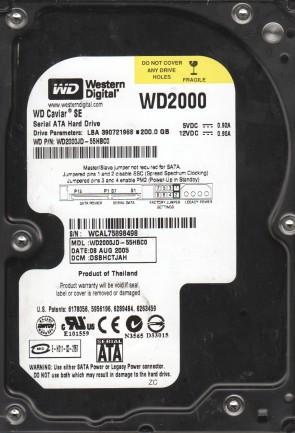 WD2000JD-55HBC0, DCM DSBHCTJAH, Western Digital 200GB SATA 3.5 Hard Drive