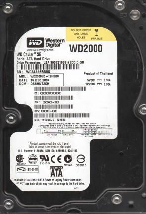 WD2000JD-22HBB0, DCM DSBHNTJCH, Western Digital 200GB SATA 3.5 Hard Drive