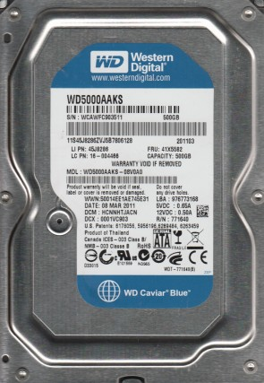 WD5000AAKS-08V0A0, DCM HCNNHTJACN, Western Digital 500GB SATA 3.5 Hard Drive