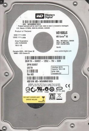 WD1600JS-75NCB3, DCM DSCHNT2AHN, Western Digital 160GB SATA 3.5 Hard Drive