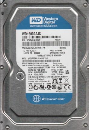 WD1600AAJS-08L7A0, DCM HGNNHTJAHN, Western Digital 160GB SATA 3.5 Hard Drive