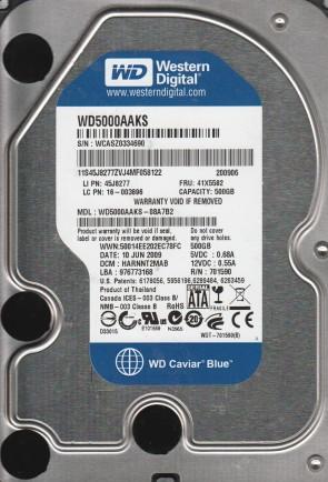 WD5000AAKS-08A7B2, DCM HARNNT2MAB, Western Digital 500GB SATA 3.5 Hard Drive