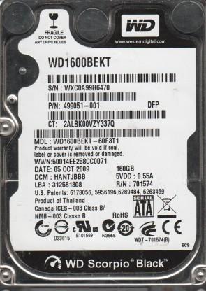 WD1600BEKT-60F3T1, DCM HANTJBBB, Western Digital 160GB SATA 2.5 Hard Drive