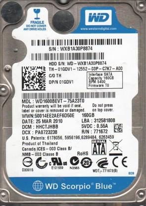 WD1600BEVT-75A23T0, DCM HHCTJHBB, Western Digital 160GB SATA 2.5 Hard Drive