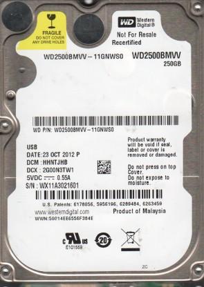 WD2500BMVV-11GNWS0, DCM HHNTJHB, Western Digital 250GB USB 2.5 Hard Drive