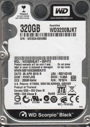 WD3200BJKT-00F4T0, DCM HHNTJHB, Western Digital 320GB SATA 2.5 Hard Drive