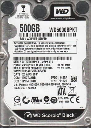 WD5000BPKT-22PK4T0, DCM EHCTJABB, Western Digital 500GB SATA 2.5 Hard Drive