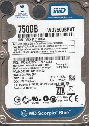 WD7500BPVT-80HXZT3, DCM HHCTJCB, Western Digital 750GB SATA 2.5 Hard Drive