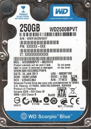 WD2500BPVT-80ZEST0, DCM HEMTJHNB, Western Digital 250GB SATA 2.5 Hard Drive