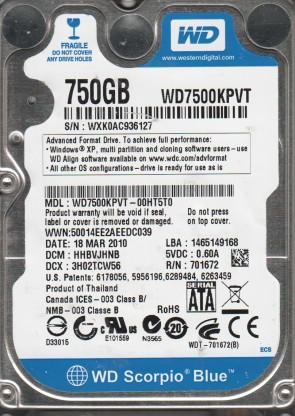 WD7500KPVT-00HT5T0, DCM HHBVJHNB, Western Digital 750GB SATA 2.5 Hard Drive
