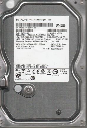 HDS721016CLA382, PN 0A39261, MLC JPT39C, Hitachi 160GB SATA 3.5 Hard Drive