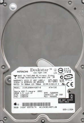 IC35L090AVV207-0, PN 13G0333, MLC H69205, Hitachi 82.3GB IDE 3.5 Hard Drive