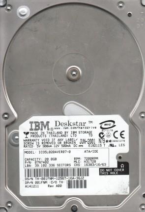 IC35L020AVER07-0, PN 07N7402, MLC H31728, IBM 20GB IDE 3.5 Hard Drive