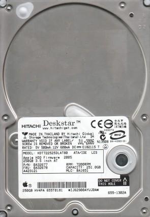 HDT722525DLAT80, PN 0A32677, MLC BA1651, Hitachi 251GB IDE 3.5 Hard Drive