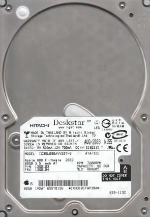 IC35L090AVV207-0, PN 13G0103, MLC H69205, Hitachi 82.3GB IDE 3.5 Hard Drive