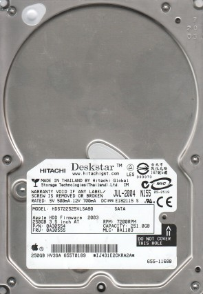 HDS722525VLSA80, PN 0A30554, MLC BA1103, Hitachi 250GB SATA 3.5 Hard Drive