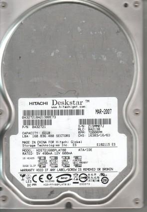 HDS721680PLAT80, PN 0A32721, MLC BA2138, Hitachi 80GB IDE 3.5 Hard Drive