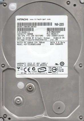 HDT721050SLA360, PN 0A38113, MLC BA3013, Hitachi 500GB SATA 3.5 Hard Drive