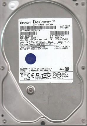 HDP725025GLA380, PN 0A35399, MLC BA2653, Hitachi 250GB SATA 3.5 Hard Drive