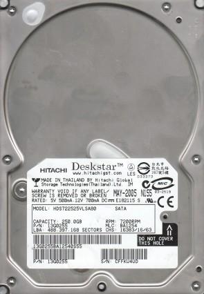 HDS722525VLSA80, PN 13G0255, MLC BA1254, Hitachi 250GB SATA 3.5 Hard Drive
