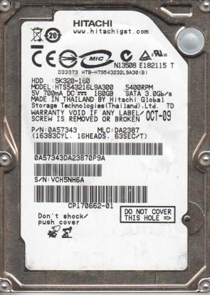 HTS543216L9A300, PN 0A57343, MLC DA2387, Hitachi 160GB SATA 2.5 Hard Drive