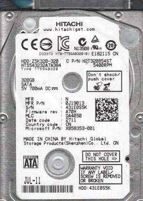 HTS543232A7A384, PN 0J19013, MLC DA4050, Hitachi 320GB SATA 2.5 Hard Drive