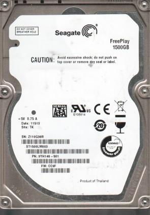 ST1500LM003, Z11, TK, PN 9YH148-501, FW CC9F, Seagate 1.5TB SATA 2.5 Hard Drive