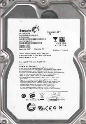 ST31000520AS, TK, PN 9TN154-512, FW CC37, Seagate 1TB SATA 3.5 Hard Drive