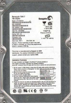 ST3160021A, 5JS, WU, PN 9W2001-050, FW 3.04, Seagate 160GB IDE 3.5 Hard Drive